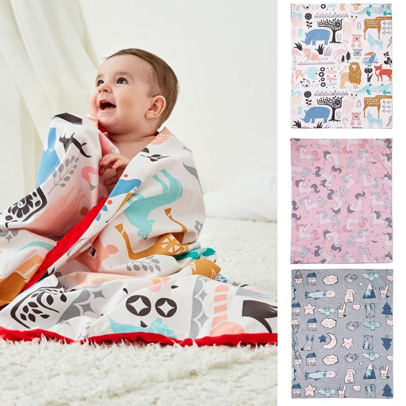 Newborn Baby Blankets Warm Cotton Double Layer Stroller Sleep Cover Cartoon Beanie Infant Bedding Swaddle Kids Bath Towel