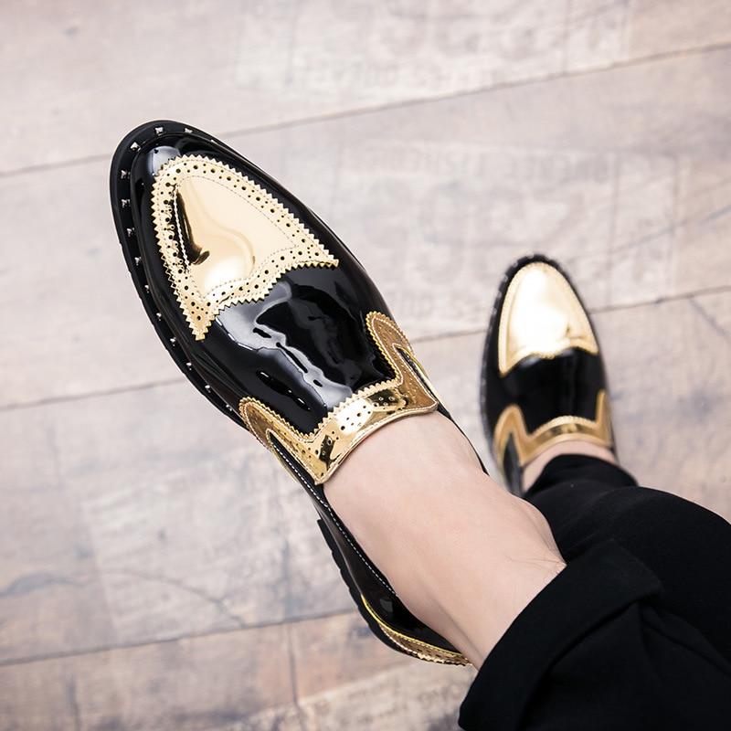 Nouveaux hommes chaussures habillées ombre en cuir verni de luxe mode marié chaussures de mariage hommes de luxe style italien Oxford grande taille 48 Y7-03