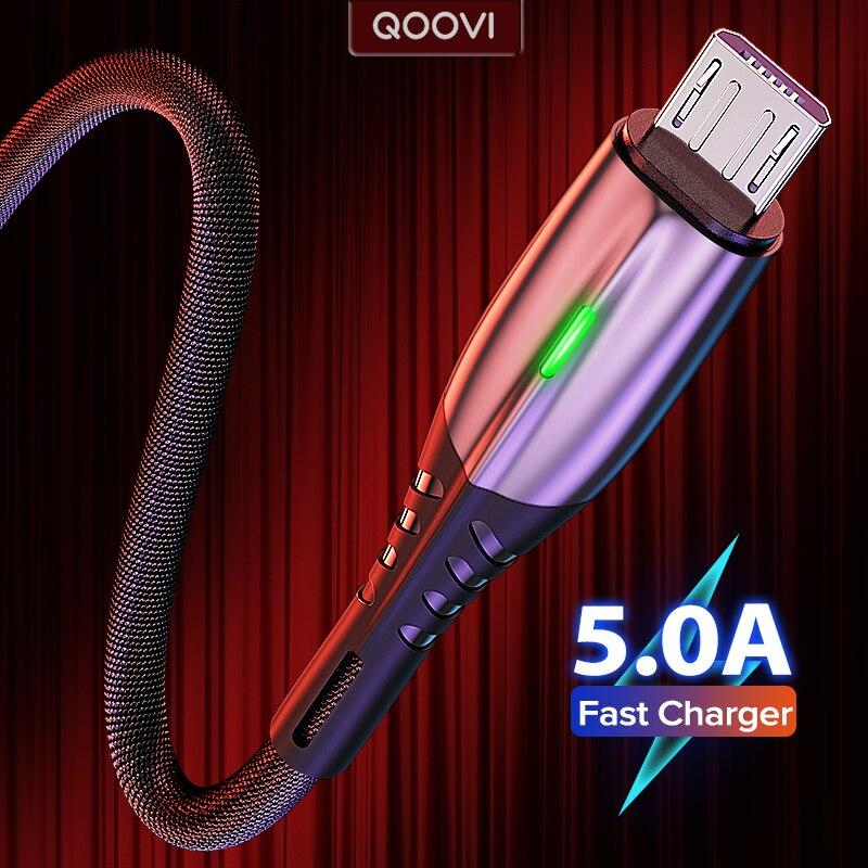5А 2 м Micro USB Type C кабель LED Android мобильный телефон зарядное устройство Быстрая зарядка Microusb кабель для передачи данных Зарядка для Xiaomi Samsung Huawei