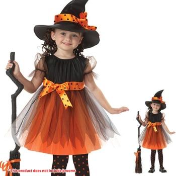 Kids Children Girls Halloween Witch Dress+Hat Children's Day Princess Party Dresses Carnival Cosplay Costume Halloween Costume 1