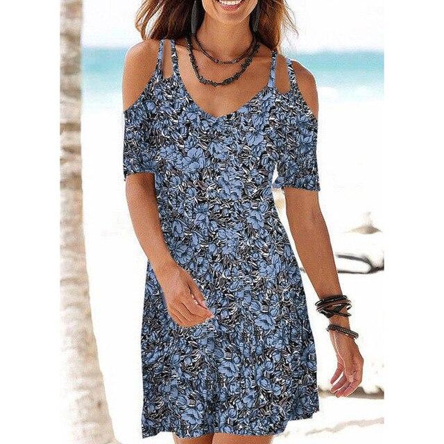 Summer Ladies Mid-length Dress Beach Casual Dress Sling V-neck Printed Slim Dress Plus Size S-5XL 4