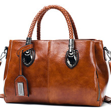 Oil Wax leather luxury handbags women bags designer ladies hand