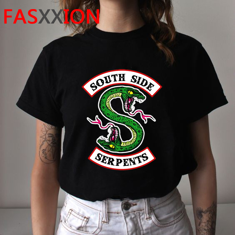 South Side Serpents Riverdale Funny Cartoon T Shirt Women Harajuku Snake Graphic T-shirt 90s Fashion Tshirt Anime Top Tee Female