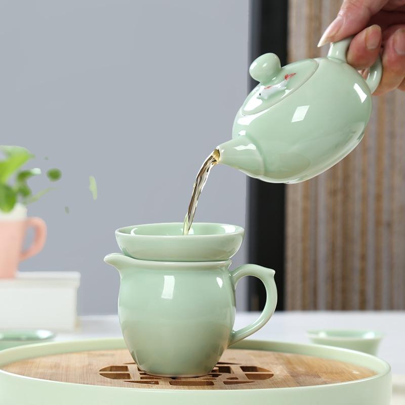 Kanne Tea for One Set Teekannen Set Tasse Keramik Kreise Retro weiß blau