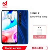 Version mondiale Xiaomi Redmi 8 4GB 64GB Smartphone Snapdragon 439 Octa Core 12MP double caméra 5000mAh batterie téléphone portable