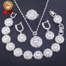 Trendy 2019 925 Silver Bridal Jewellery Women Bracelets Ring Sets Earrings Necklace For Wedding(China)