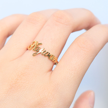 цена на Custom Word Ring Anillos Mujer Personalized Stainless Steel Name Rings For Women Rose Gold Silver Ring BFF Jewelry Monogram Anel