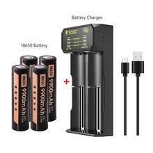 4 sztuk sztuk 3.7V 9900mAh 18650 bateria akumulatory litowo-jonowe akumulator latarka latarka zabawki i USB ładowarka