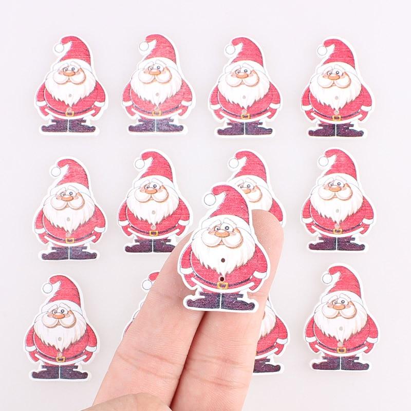 Санта Клаус 2 деревянные пуговицы новогодняя елка, сделанный своими руками детская одежда швейные пуговицы ремесла аксессуары для скрапбук...