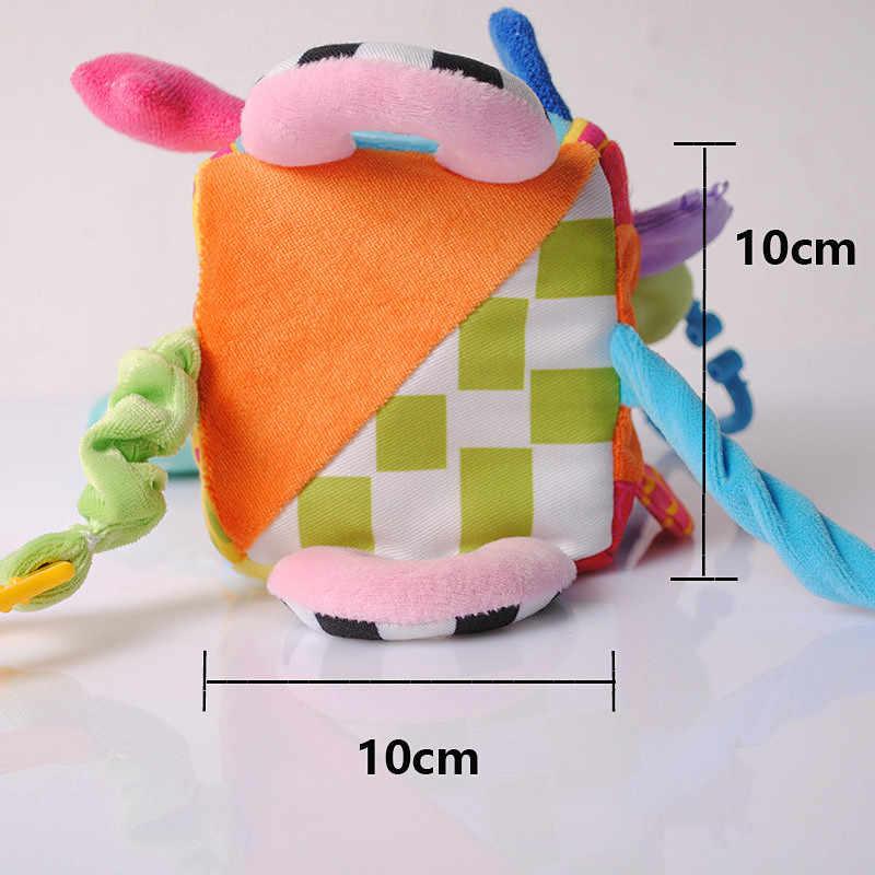 Nuevo Bebé Rattles crib móviles juguetes de peluche cuadrado bloque cubo para ropa sonajeros temprano bebé recién nacido juguetes educativos 0-12 meses