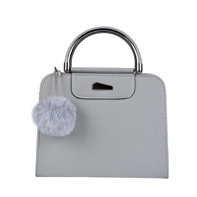 Women Handbags Satchel PU Leather Women Handbags Tote Purse Iron Medal Shoulder Bag With Hairball