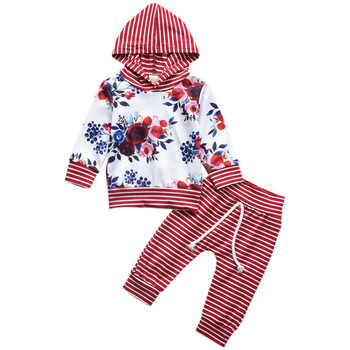 цена на Baby Girl Clothes Set Casual Floral Print Sweatshirt Hoodie And Striped Long Pant Winter Cute kids 2pcs Suit Clothes Outfits D30