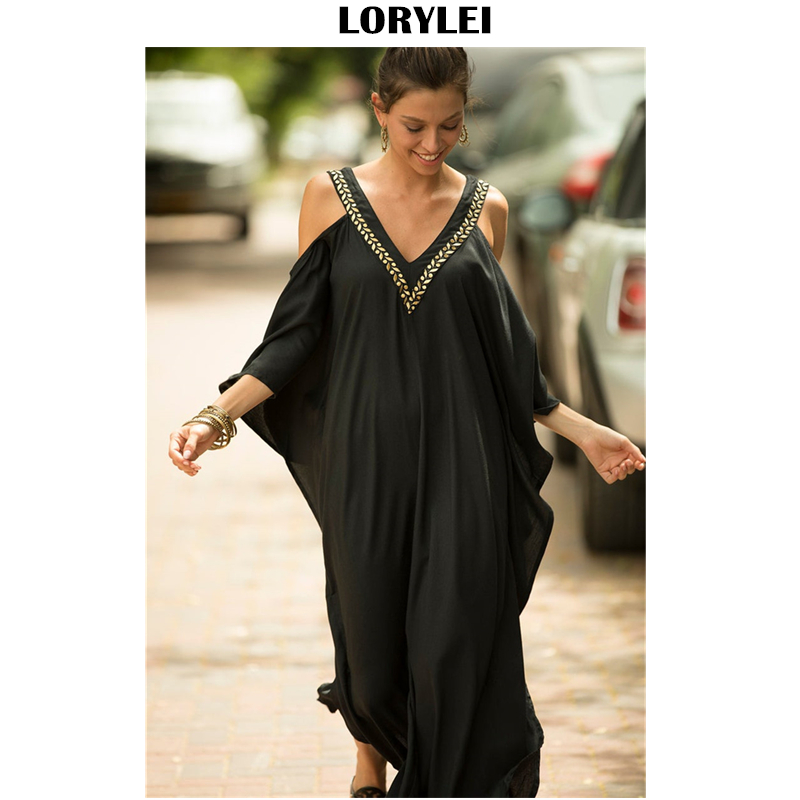 2020 <font><b>Sexy</b></font> Cold Shoulder V Neck Bats Sleeve Loose Summer Beach <font><b>Dress</b></font> <font><b>Plus</b></font> <font><b>Size</b></font> Women Beachwear Kaftan Black Cotton <font><b>Dress</b></font> Q943 image