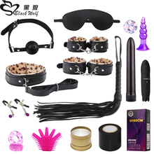 BLACKWOLF SM Leopard Exotic Accessories PU Sex Bondage Set Sexy Handcuffs Whip Rope Anal Vibrator Adult Sex Toy for Couples