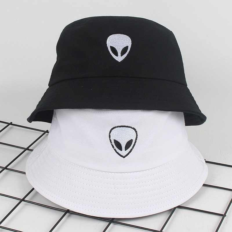Unisex black white solid Embroidered Alien Foldable Bucket Hat Beach Sun Party Street Headwear Panama Hat Harajuku Fisherman Cap