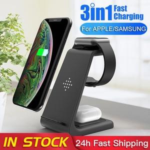 Image 1 - Carregador rápido 10W sem fio 3 em 1 QI, plataforma de carregamento para iPhone, fones da Samsung, Apple Watch 4 3 2 e Airpods Pro