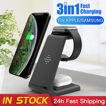 QI 10W Fast Charge 3 in 1 Wireless Charger For iPhone for Samsung Buds For Apple Watch 4 3 2 For Airpods Pro Charger Stand Dock
