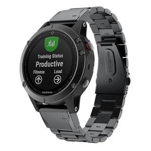 Image 4 - Correa de reloj para Garmin Fenix, pulsera de acero inoxidable de liberación rápida, 22 y 20MM, 6X, 6S, 6 Pro, 5X, 5, 5S Plus, 3HR
