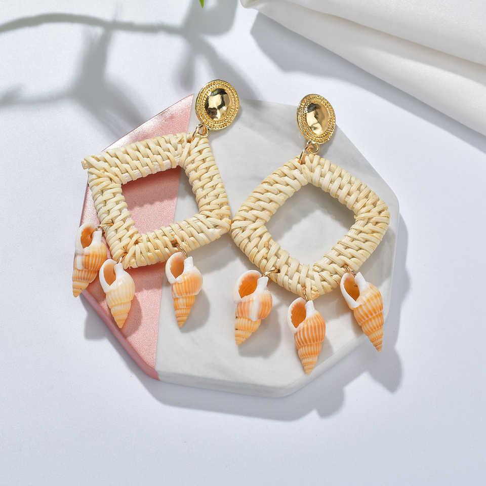 เกาหลี Handmade ไม้ฟางสานหวาย Braid Drop ต่างหูแฟชั่นเรขาคณิตต่างหูสำหรับเจ้าสาว