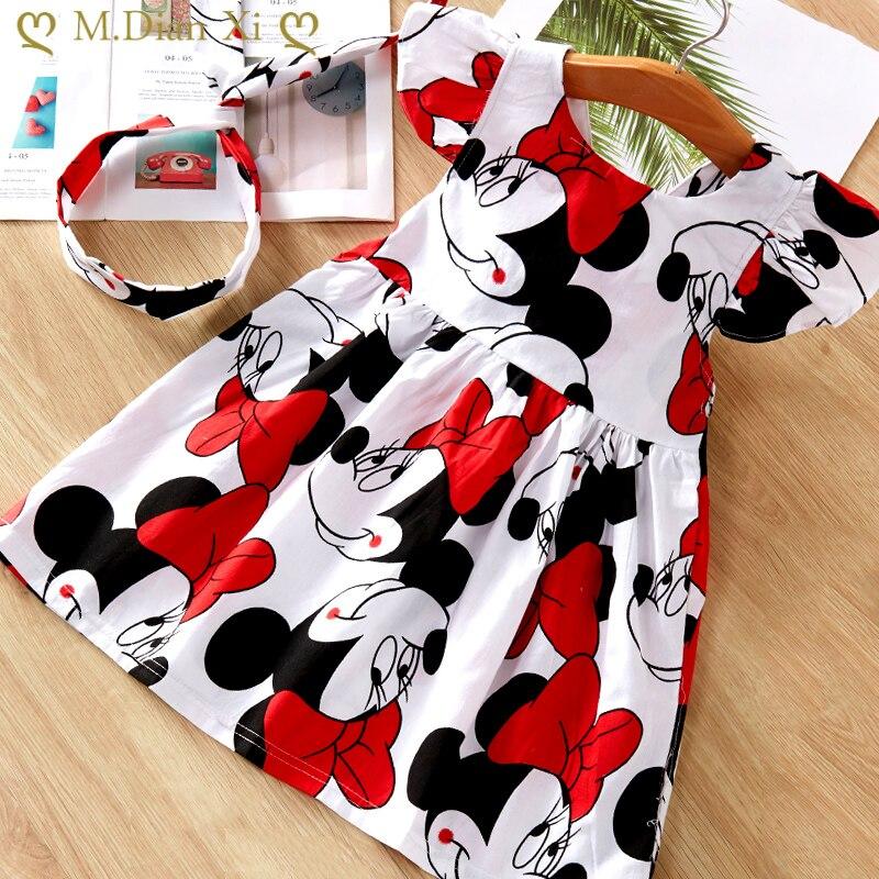 2021 moda bebek kız elbise yaz elbisesi karikatür Minnie Mouse elbise prenses elbise çocuk kız giyim 0-6 yıl disney