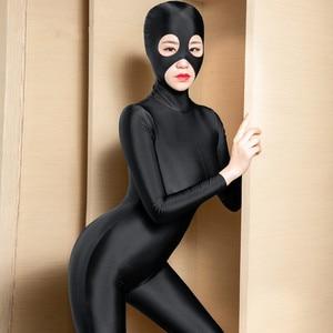 Sexy kobiety złodziej maska Catsuit Zipper otwórz krocza body błyszczące gładka tkanina Bodystockings Plus rozmiar klub nocny erotyczna bielizna