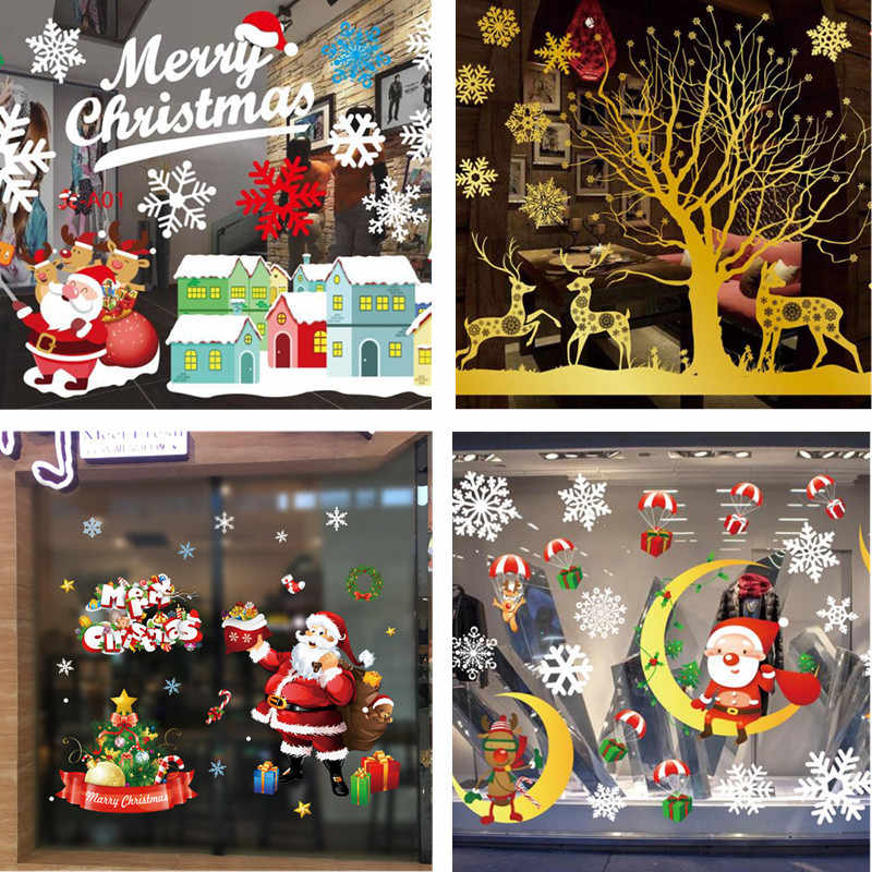 Giáng Sinh Mới Trang Trí Cửa Sổ Miếng Dán Kính Chúc Giáng Sinh Ông Già Noel Tuyết Nhựa PVC Có Thể Tháo Rời Decal Dán Tường Cho Xmas Nhà Đề Can