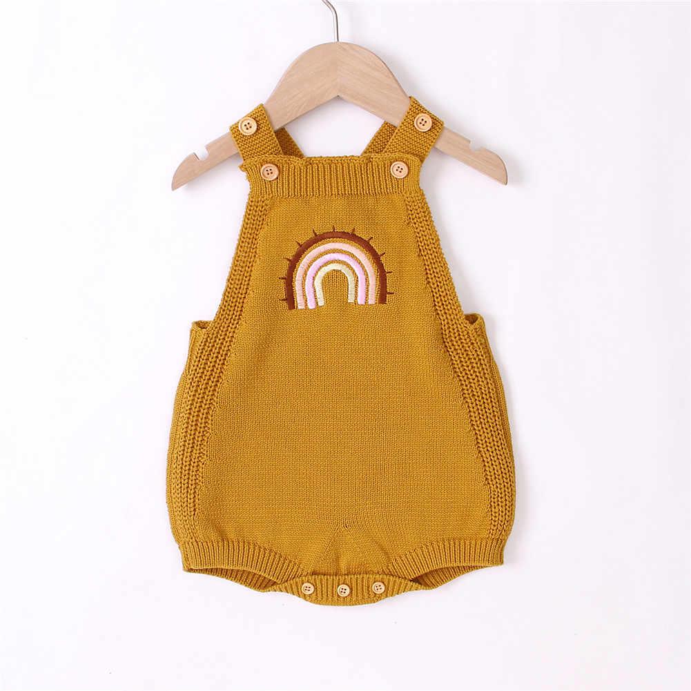 2020 아기 여름 의류 유아 아기 소녀 민소매 점프 슈트 니트 Playsuits 수 놓은 레인보우 패턴 기본 바디 슈트