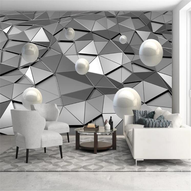 Wellyu Custom Wallpaper Papel De Parede Metal Low Poly Solid Sphere 3d Background Wall Wall Papers Home Decor Papel Mural