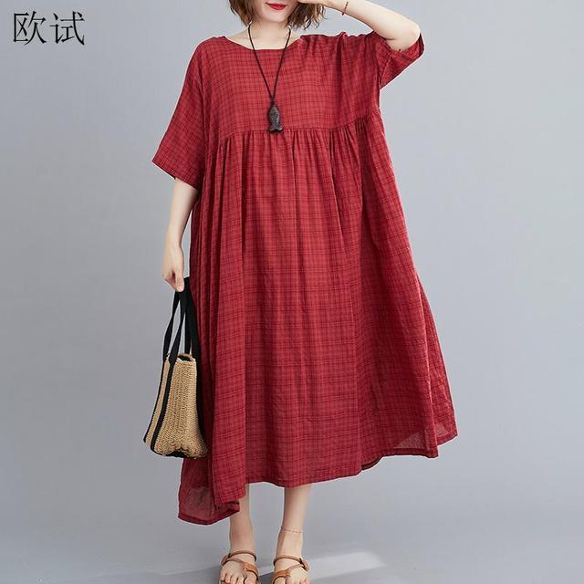 Plus Size Plaid Casual Cotton Summer Dress Women Oversized Vintage 4XL 5XL 6XL Ladies Dresses Robe Femme Beach Woman Dress 2021 4