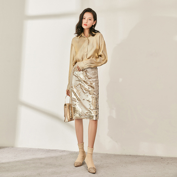 JINZUO Fashion Sparkling Double-sided Sequin Skirt Autumn Winter Slim Fit Hip Wrap Party Elegant Women Champagne Gold Skirts