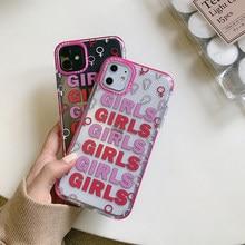 Koele Roze Meisjes Telefoon Case Voor Iphone 12 Mini 11 Pro Max 6 S X Xr Xs Max Zachte Siliconen transparant Cover Voor Iphone 7 8 Plus