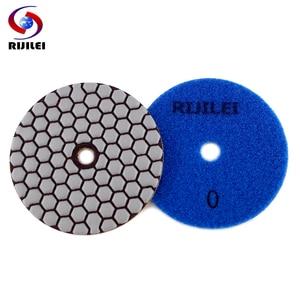 Image 3 - RIJILEI 6PCS 4 인치 드라이 폴리싱 패드 유연한 수지 100mm 다이아몬드 연마 패드 대리석 콘크리트 바닥 그라인딩 디스크
