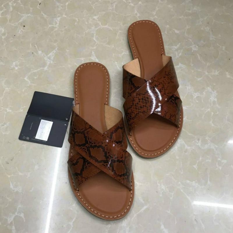 2020 Summer Slippers Women Cross Belt Flat Bottom Female Casual Beach Shoes Large Size Wild Snake Skin Pattern Slides