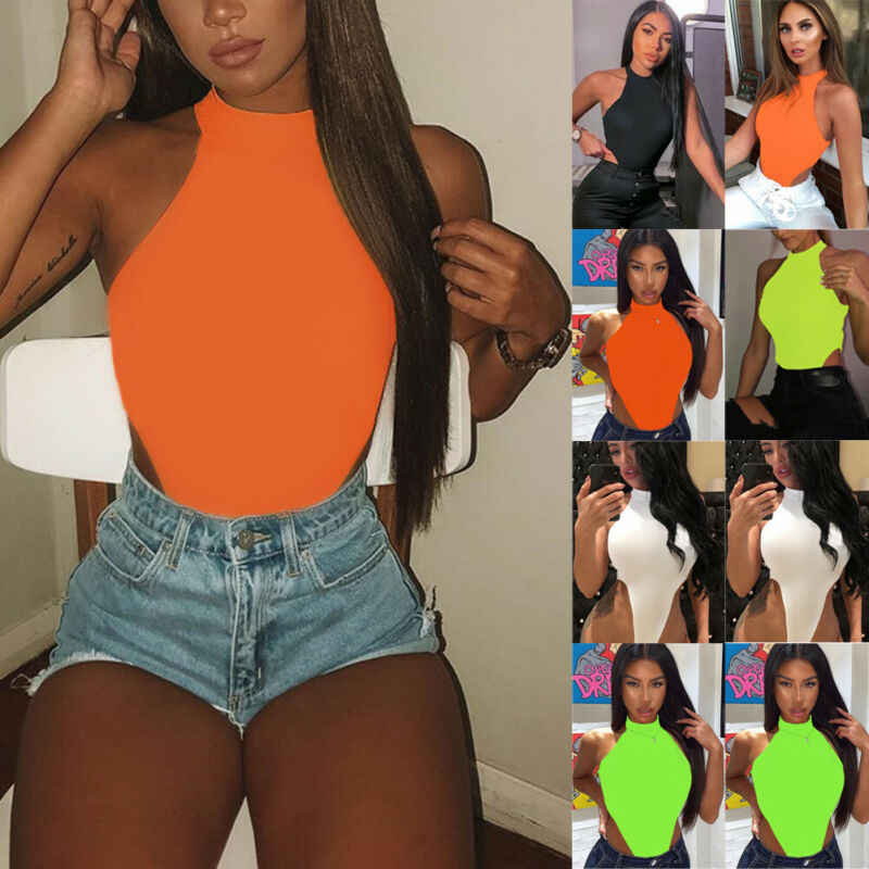 Kadınlar bayanlar Bodysuit streç Leotard kısa kollu vücut Tops T gömlek tulum
