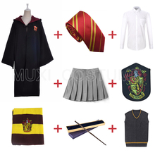 Darmowa wysyłka Gryffindor hermiona Granger Cosplay szata płaszcz spódnica sweter koszula szalik krawat różdżka odznaka Harris kostium tanie tanio Zestawy Film i TELEWIZJA WOMEN Kółka Wykop Spódnice XHX-001 Kostiumy Poliester