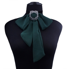 1pc Bowknot Cloth Shirt Necklaces cloth Neck Ties green red color Bow Necklace Women Choker Charms Pendants Collar Rhinestone