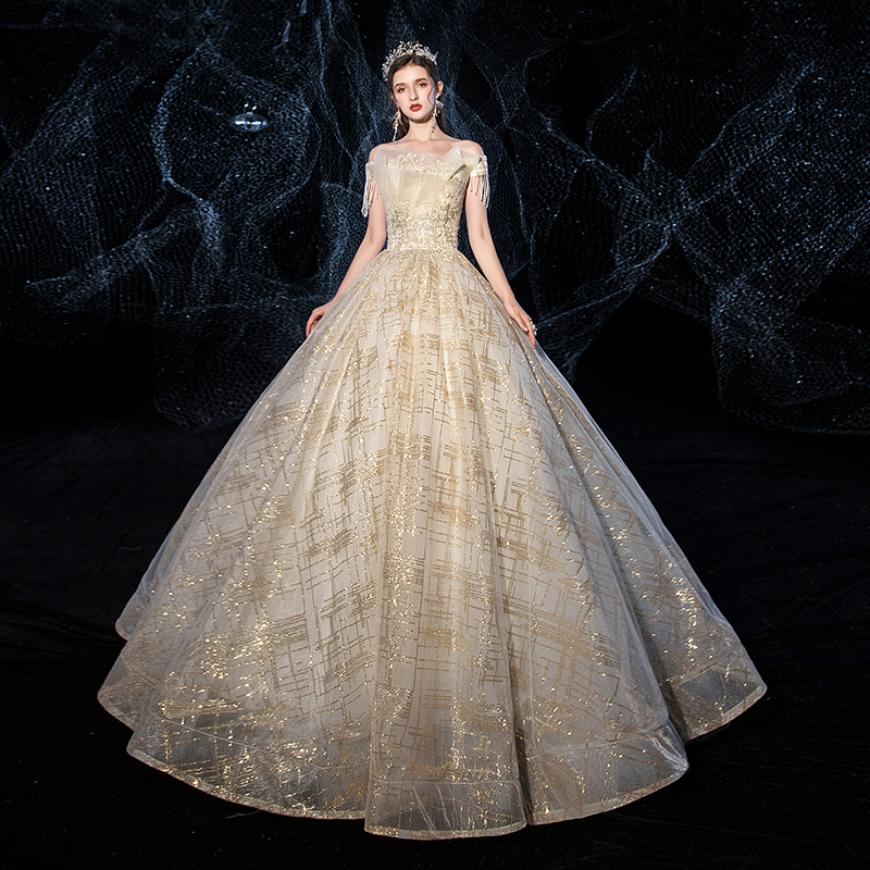 Wedding Dress 2019 Champagne Boat Neck Luxury Gold Spray Ball Gown Princess Classic Lace Plus Size Wedding Dresses For Bride