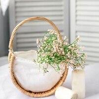 Blume Korb Starke Robust Gras Reben Leinen Handgemachte Gewebten Halb Moons Blume Korb Wicker Korb Home Dekorationen|Blumenampeln|   -