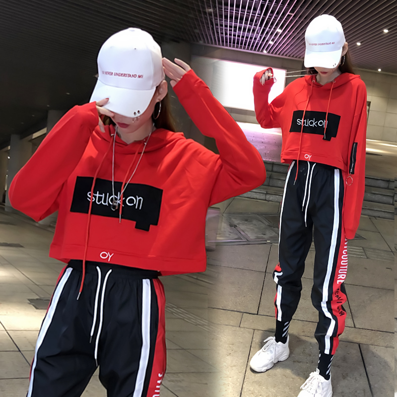 Tide brand suit chandal mujer 2 piezas female autumn Korean street dance hip hop leisure bf sports net red two-piece set women 19