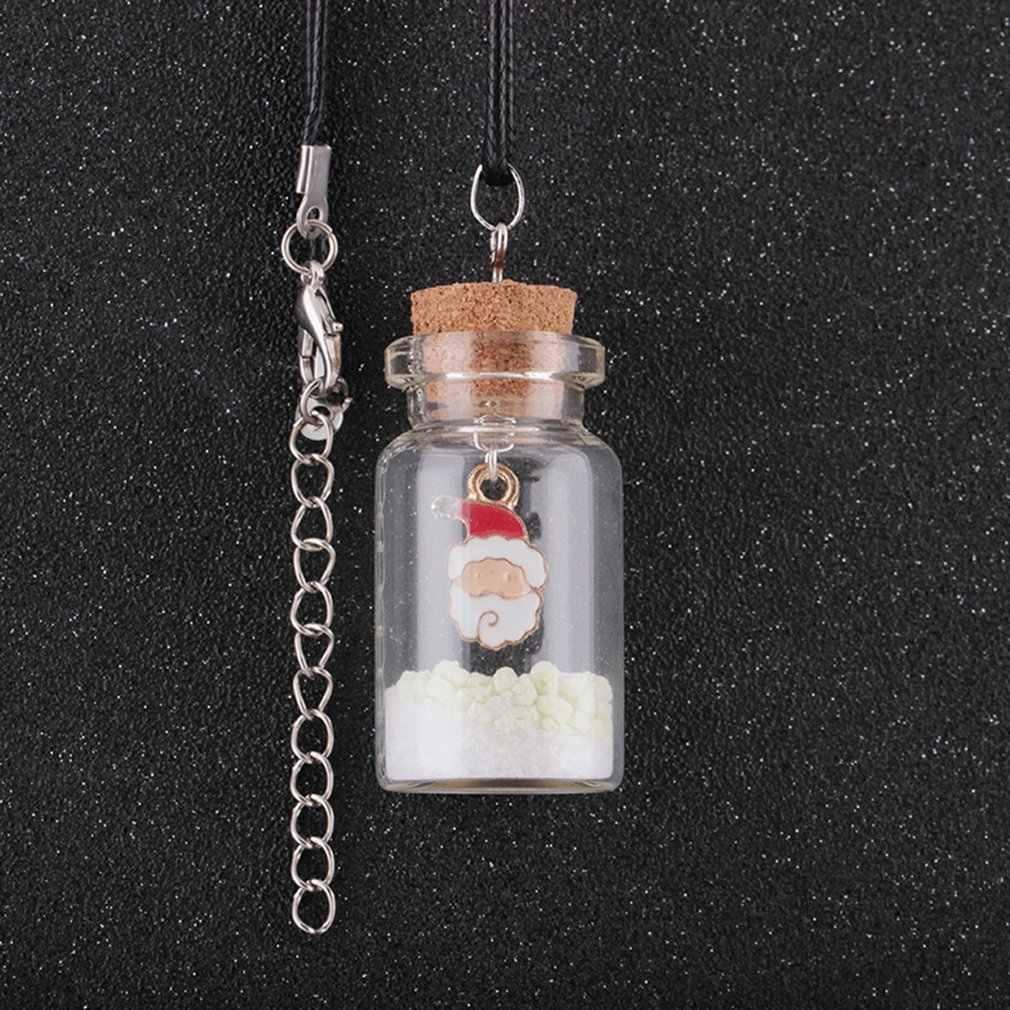 שיק סגנון זוהר חג המולד עץ מושב זכוכית בקבוק תליון שרשרת קסם בנות זוהר בחושך תכשיטים לנשים מתנות
