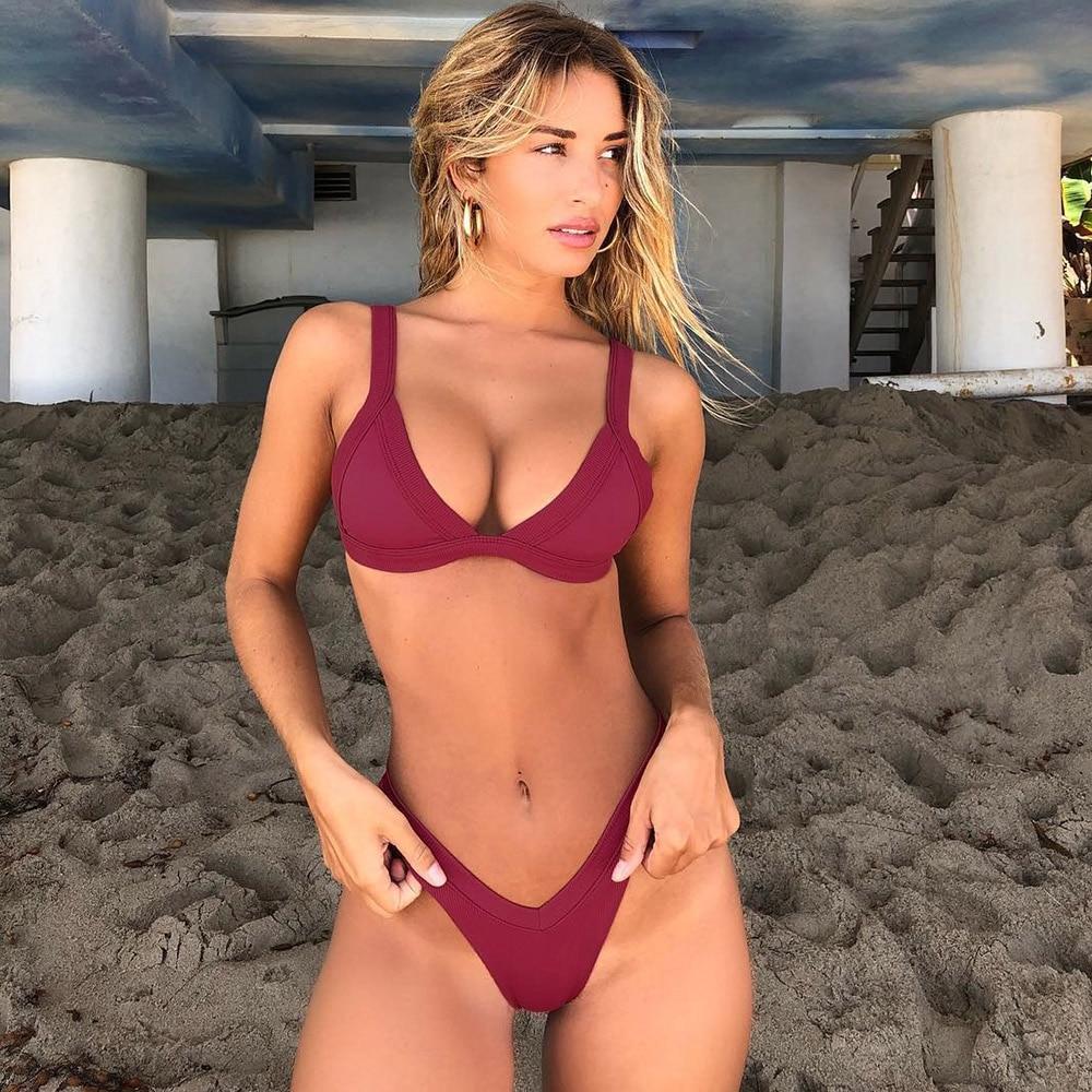 Bikini 2020 Solid Swimsuit Women Swimwear Push Up Bikini Set Patchwork Biquini Brazilian Summer Beach Bathing Suit Swim Wear 2