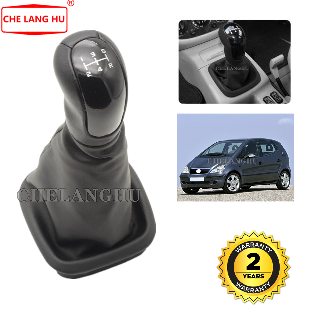 Carregador manual 5 velocidades para mercedes benz, w168 1997 1998 1999 2000 2001 2002 2003 2004 botão de câmbio de couro, nível bota de couro