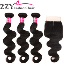 ZZY Fashion Hair Brazilian Body Wave Bundles With Closure Non-Remy Human Hair Weave Bundles With Closure(China)