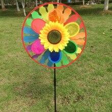 Sunflower Windmill Triple Wind Spinner Yard Garden Decoration Child Kids Toys
