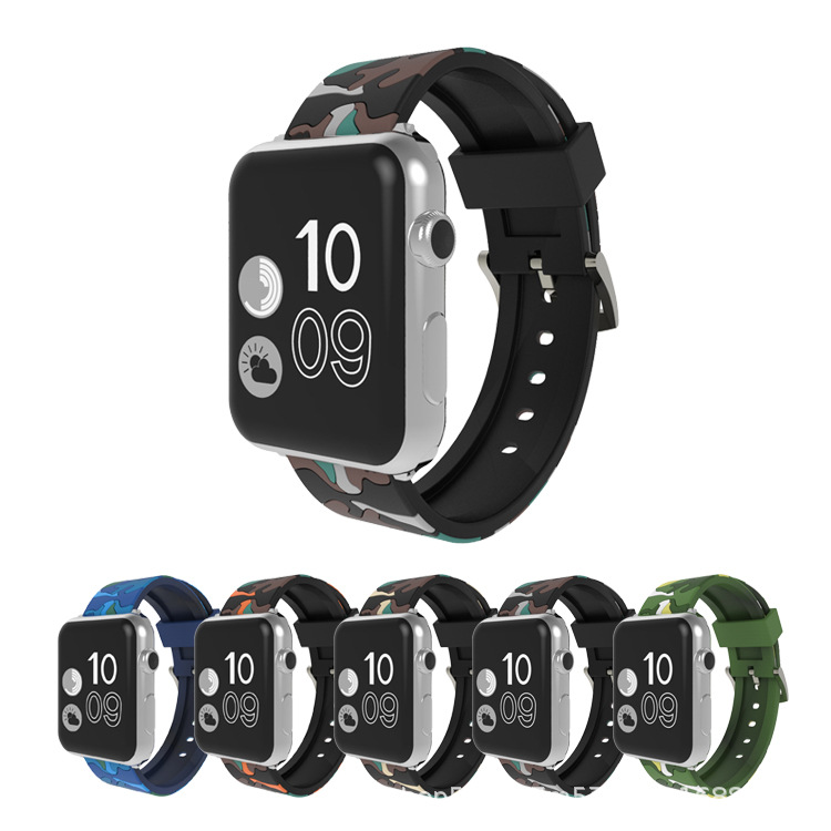 Suitable For Apple Watch APPLE Iwatch1/2/3/4 S-Style Creative Camouflage Silica Gel Sports Watch Strap