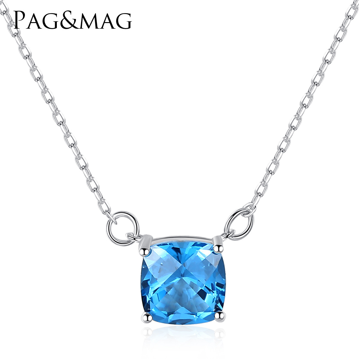 PAG-MAG S925 Sterling Silver Necklace Natural Topa stone pendant blue crystal fashion accessories(China)