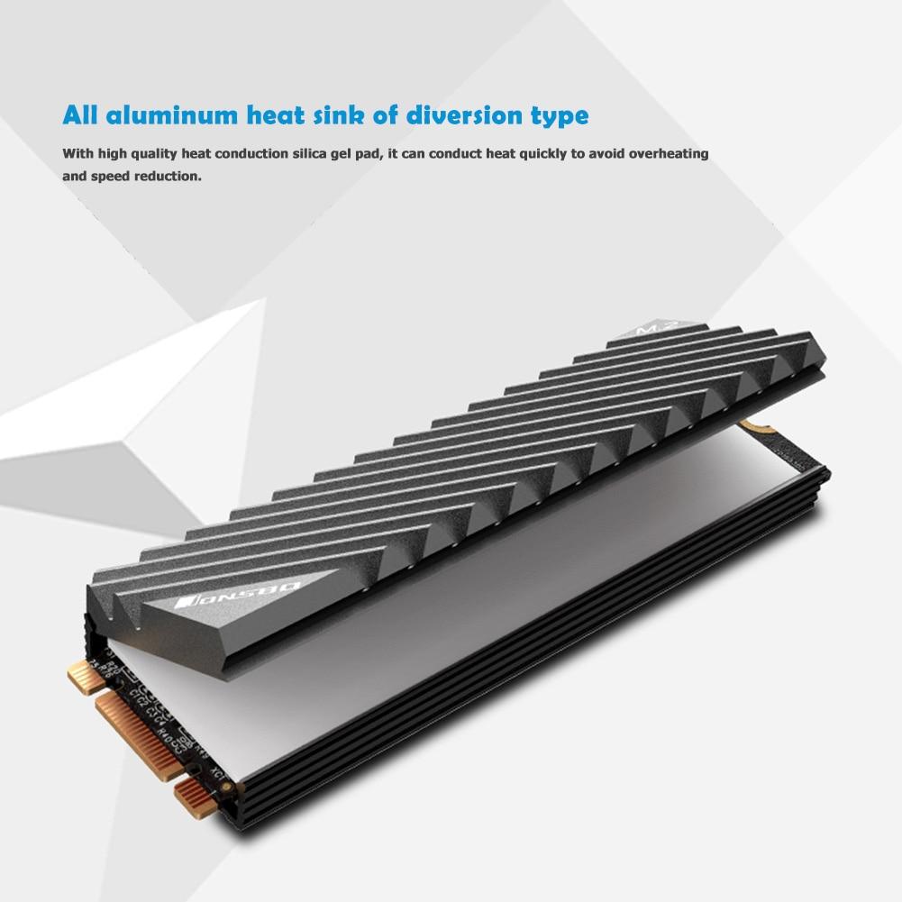 Jonsbo M.2 SSD NVMe Heat Sink M2 2280 Solid State Hard Disk Aluminum Heatsink with Thermal Pad Desktop PC Thermal Gasket 4