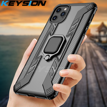 KEYSION Shockproof Case For iPhone 11 Pro Max Transparent Magnetic Armor Phone back Cover for XS XR 7 6 6S 8 Plus