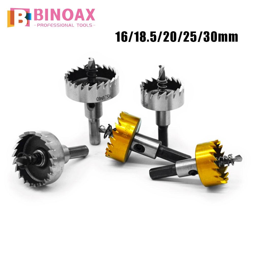 BINOAX 5pcs HSS Carbide Tip Drills Bit Hole Saw Set Stainless Steel Metal Alloy 16/18.5/20/25/30mm