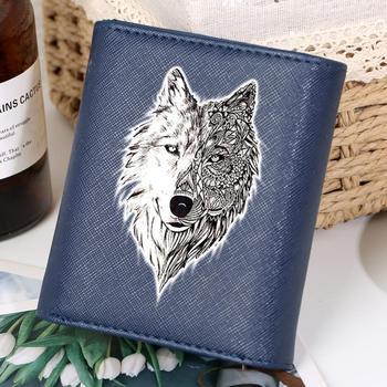 Monedero con dibujo de lobo para mujer, cartera pequeña de piel corta, Cartera de moda Mini de lujo para mujer, cartera y portatarjetas de crédito